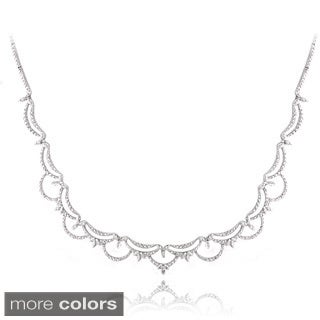 DB Designs Silvertone Diamond Accent Scalloped Necklace