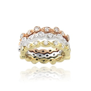 Icz Stonez Tri-color Sterling Silver Cubic Zirconia Stackable Ring Set
