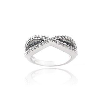 Icz Stonez Rhodium Plated Black and White Cubic Zirconia Infinity Ring