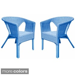 Rattan Living Outdoor Colorful Rattan Chairs (Set of 2)