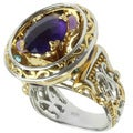 Michael Valitutti Two-tone Amethyst and Blue Topaz Ring