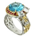 Michael Valitutti Two-tone Swiss Blue Topaz and Orange Sapphire Ring