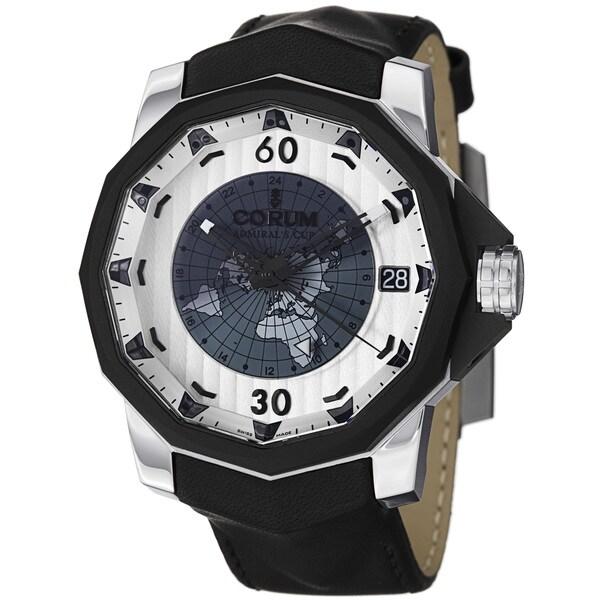 Corum Men's 'Challenger48' Silver GMT Dial Black Leather Strap Watch