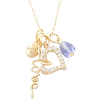 Fremada 14k Gold over Silver CZ Heart, Forever, Love, Lavander Necklace