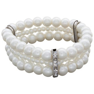 Nexte Jewelry Multi Sized Freshwater Pearls Bracelet With Rhinestone Accents