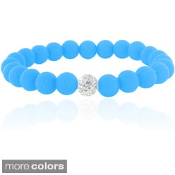 Dolce Giavonna Crystal and Silicone Balls Stretch Bracelet