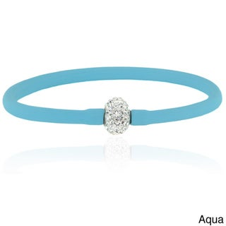 Dolce Giavonna Crystal Ball Silicone Stretch Bracelet