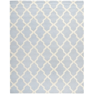 Safavieh Handmade Moroccan Cambridge Light Blue/ Ivory Wool Rug (11' x 15')