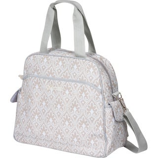 The Bumble Collection Brittany Backpack Diaper Bag in Blue Filagree
