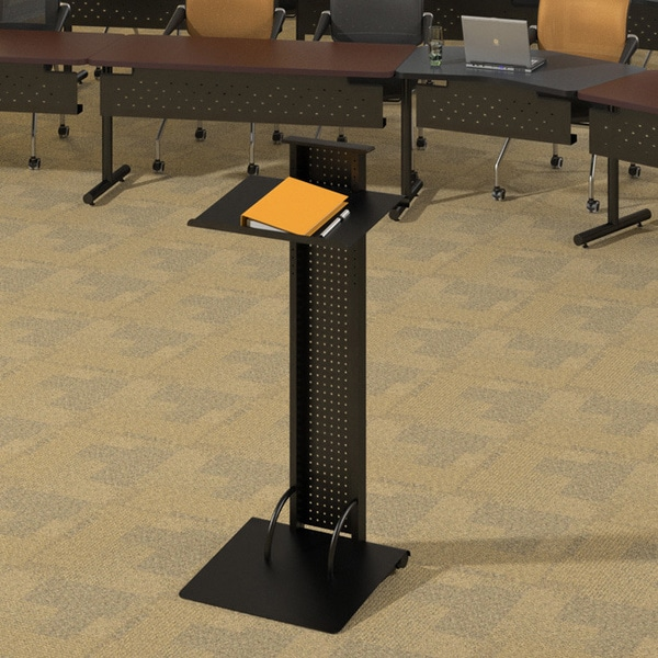 Mayline Lighted Black Steel Lectern