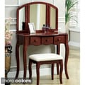 Furniture of America Classic Nasheline 3 Drawer Vanity / 3 Sided Mirror Set