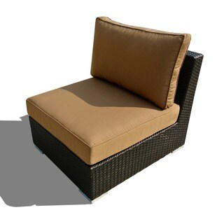 Corvus Morgan Weather-resistant Wicker Armless Chair with Sunbrella Fabric