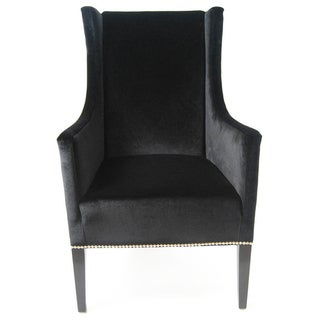 Wing Back Black Velvet Armchair