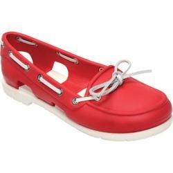 162fa8c53 Women s Crocs Beach Line Boat Shoe Red White Crocs Loafers on PopScreen