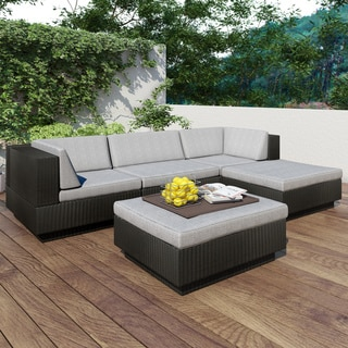 Sonax 'Park Terrace' Textured Black 5-piece Sectional Patio Set
