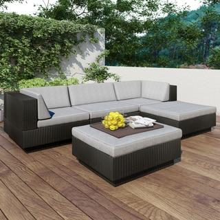 Sonax 'Park Terrace' Textured Black 5-piece Sectional Patio Set