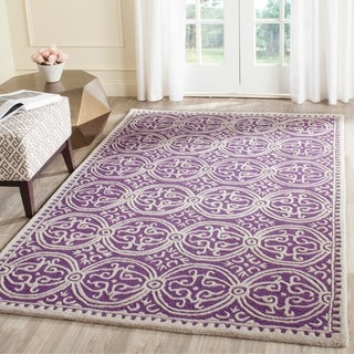 Safavieh Handmade Moroccan Cambridge Purple/ Ivory Wool Rug (10' x 14')