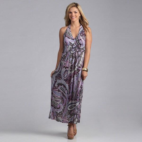 Talia Women's Paisley Halter Maxi Dress