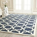 Safavieh Handmade Moroccan Cambridge Geometric Navy Blue/ Ivory Wool Rug (10' x 14')