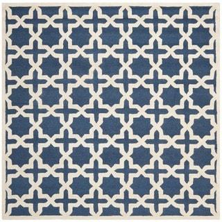 Safavieh Handmade Moroccan Cambridge Navy Blue/ Ivory Wool Rug (10' Square)