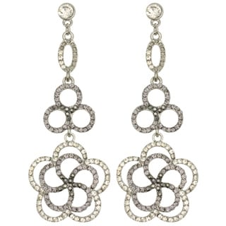 Kate Marie Rhinestone-accented Floral Design Earrings