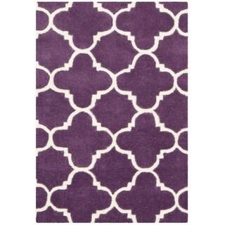 Safavieh Handmade Moroccan Chatham Purple/ Ivory Wool Rug (3' x 5')