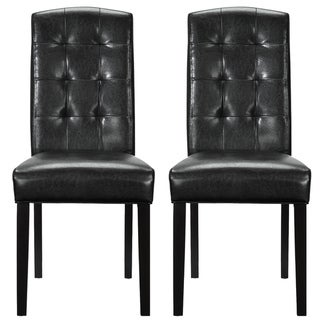 Set of 2 Black Vinyl Perdure Dining Chair