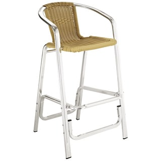 Bistro Chromed Rattan Cafe Bar Stool