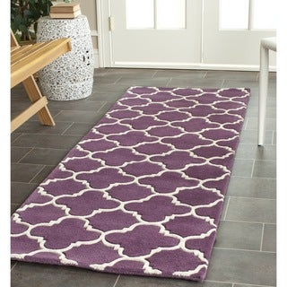 Safavieh Handmade Moroccan Chatham Purple/ Ivory Wool Rug (2'3 x 9')