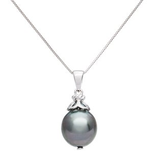 Pearlyta 14k Black Tahitian Drop Pearl Pendant Necklace (10-11mm)