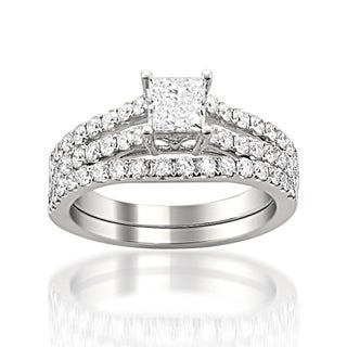 14k White Gold 1 1/2 Ct TDW Princess Cut Split Shank Bridal Set (H-I, SI2-I1)