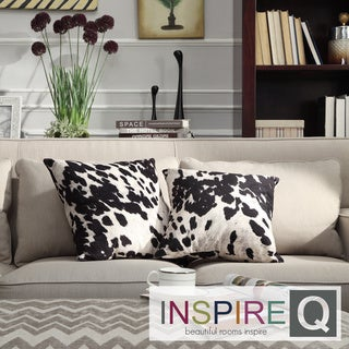 Inspire Q Inspire Q Black and White Cow Hide Print Decorative Pillows (Set of 2)