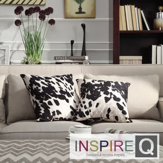 Inspire Q Black and White Cow Hide Print Decorative Pillow (Set of 2)