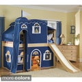 Bennington Low Loft Natural/Rosewood Twin Bed with Blue/White Castle Tower, Top Tent, Bottom Playhouse Curtain and Slide
