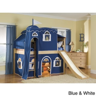 Bennington Low Loft Twin Bed with Castle Tower/ Top Tent/ Bottom Playhouse Curtain/ Slide