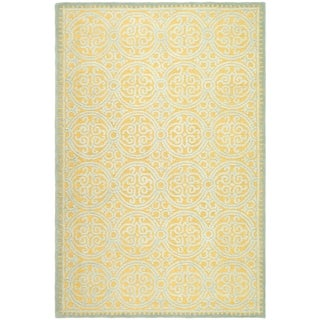 Safavieh Handmade Moroccan Cambridge Blue/ Gold Wool Rug (10' x 14')