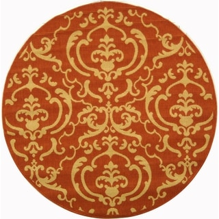 Safavieh Indoor/ Outdoor Courtyard Terracotta/ Natural Rug (7'10 Round)