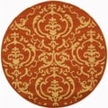 Safavieh Indoor/ Outdoor Courtyard Terracotta/ Natural Rug (7'10 Round)