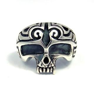 Edgy Men's Sterling Silver Biker Half Skull Ring (Thailand)