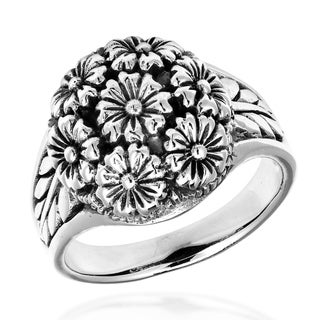 Floral Cluster Sweet Dome Bouquet .925 Sterling Silver Ring (Thailand)