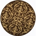 Safavieh Indoor/Outdoor Courtyard Chocolate/Natural Polyproplene Rug (7'10 Round)