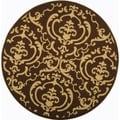 Safavieh Indoor/Outdoor Courtyard Chocolate/Natural Polyproplene Rug (7'10 Round)