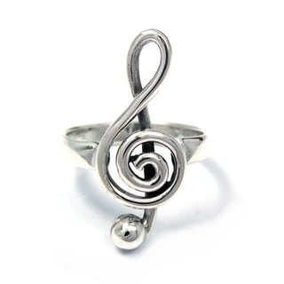 Silver Raised Treble Clef Musical Note Ring (Thailand)