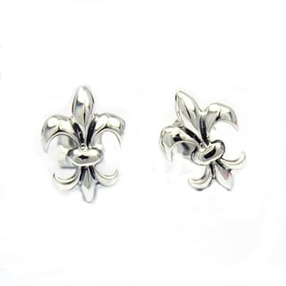 Sterling Silver Chic Fleur de Lis Inspired Stud Earrings (Thailand)