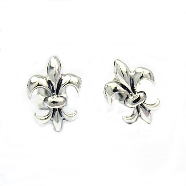 Sterling Silver Chic Fleur de Lis Inspired Stud Earrings (Thailand)