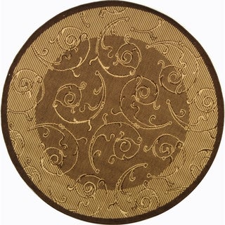 "Safavieh Indoor/Outdoor Courtyard Brown/Natural Area Rug (7'10"" Round)"