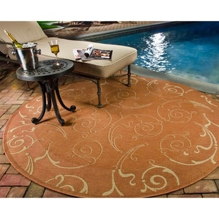"Contemporary Safavieh Indoor/Outdoor Courtyard Terracotta/Natural Rug (7'10"" Round)"