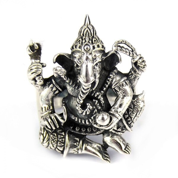 Ganesh Figure Hindu Elephant God .925 Sterling Silver Ring (Thailand)