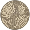 Safavieh Indoor/ Outdoor Courtyard Brown/ Natural Rug (7'10 Round)