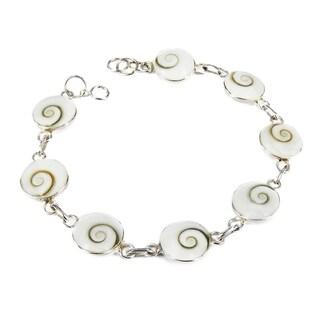 Sterling Silver Round Swirl Shiva Shell Link Bracelet (Thailand)